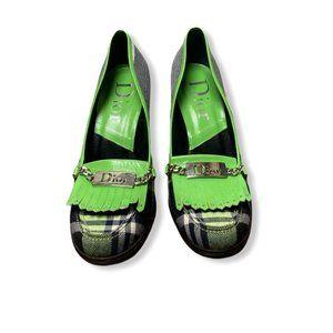 Christian Dior Leather Fringe Plaid Pumps -Dior 39
